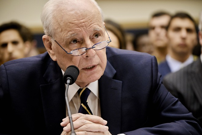 John Dean, a former White House counsel who turned against President Richard Nixon during the Watergate affair, testifies during a House Judiciary Committee hearing on Capitol Hill in Washington, on June 10, 2019. The Justice Department, after weeks of tense negotiations, has agreed to provide Congress with key evidence collected by Mueller that could shed light on possible obstruction of justice and abuse of power by President Donald Trump, the committee said on June 10. - T.J. KIRKPATRICK/THE NEW YORK TIMES