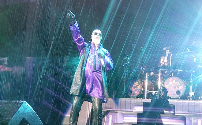 This metal don't rust — the skies opened just as Judas Priest hit the stage Wednesday night. - DAN NAILEN PHOTO