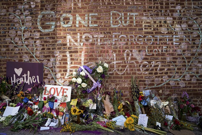"A memorial to Heather Heyer on Aug. 12, 2018, at the site where she was killed in 2017 during the ""Unite the Right"" rally in Charlottesville, Va. James Fields Jr., who killed Heyer when he steered his car into counterprotesters at the rally, was sentenced to life in federal prison on Friday, June 28, 2019. - ERIN SCHAFF/THE NEW YORK TIMES"