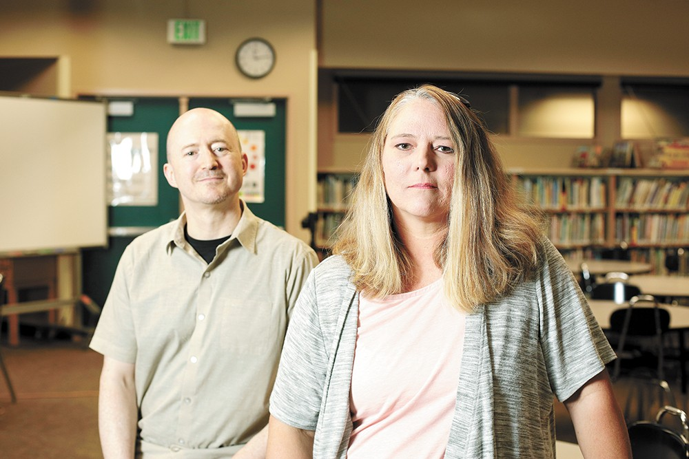 Logan Elementary teacher Roni Gross (right) and principal Brent Perdue say it's not uncommon for students to hurt staff. - YOUNG KWAK PHOTO