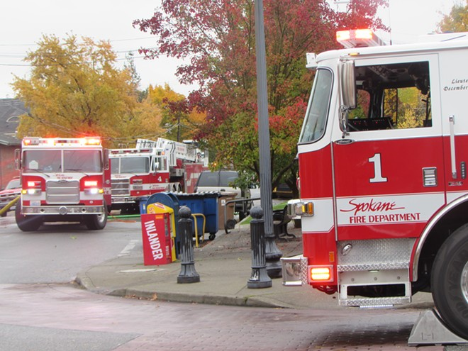 A trio of fire trucks responds to an emergency in Browne's Addition. - DANIEL WALTERS PHOTO