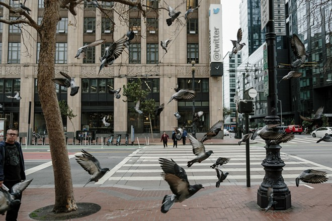 """The headquarters of Twitter in San Francisco, Oct. 27, 2016. An effort at Twitter to forbid """"dehumanizing"""" tweets was scaled back after criticism and debate, and for now focuses only on those directed at religious groups. - JASON HENRY/THE NEW YORK TIMES"""