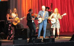 Steve Martin plays with the band Della Mae and banjoist Alison Brown (right). - DAN NAILEN PHOTO