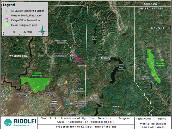 A map prepared by Ridolfi Environmental for the Kalispel Tribe of Indians shows where air monitoring and other Class I space already exists. In August, part of the reservation (in pink) will be designated as Class I, joining the areas in green on the map at the federal designation most protective against air pollution. - KALISPEL TRIBE OF INDIANS/RIDOLFI ENVIRONMENTAL