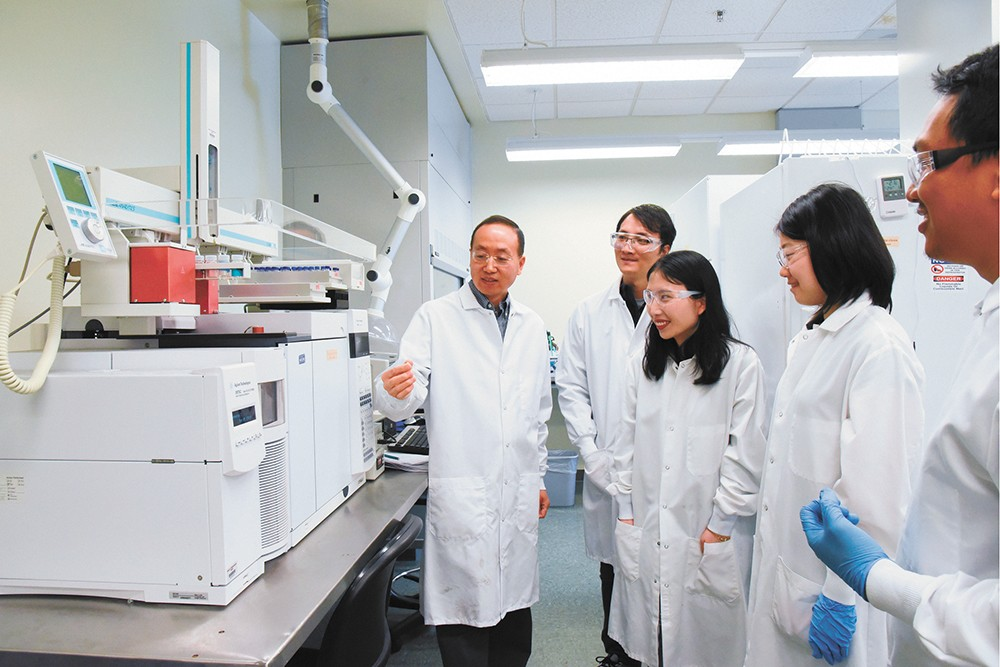Researchers led by WSU associate professor Hanwu Lei figured out a good way to convert plastic waste into jet fuel. - WSU PHOTO