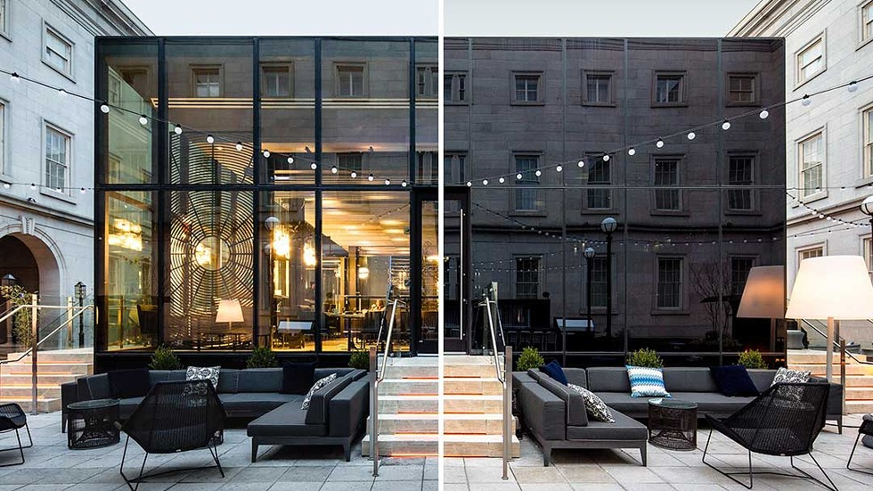"Electrochromic ""smart glass"" uses electricity to instantly change from clear (on the left) to tinted (right), which can help reduce cooling costs for buildings and eliminate the need for blinds. - COURTESY OF SAGEGLASS"