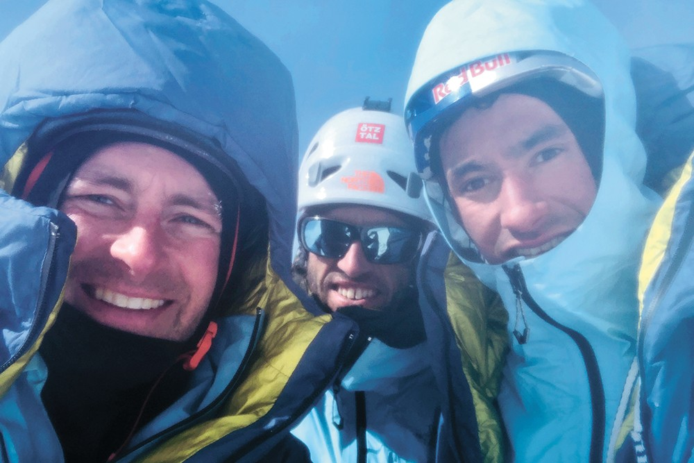 Jess Roskelley, Hansjörg Auer and David Lama at the summit of Howse Peak on April 16. - COURTESY OF ROSKELLEY FAMILY