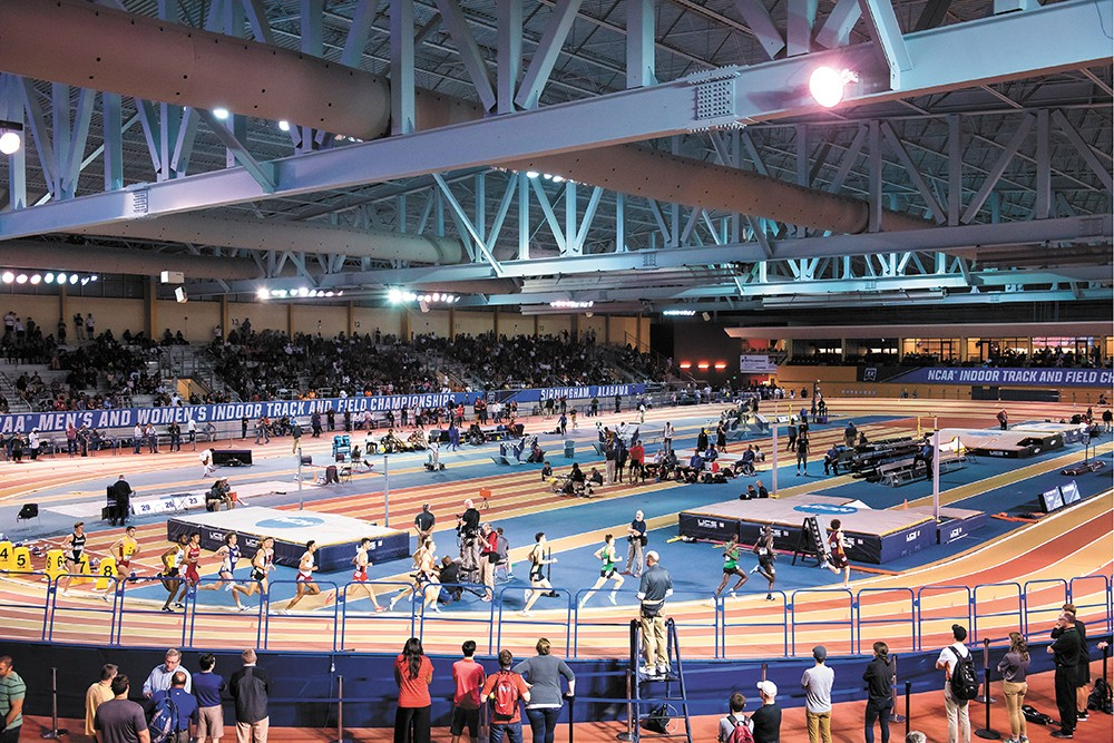 The Birmingham CrossPlex, featuring a state-of-the-art hydraulically banked indoor track, has attracted over 100,000 athletes and spectators to Birmingham a year, producing a sizable economic impact. On the other hand, the facility loses over $2 million a year. - CITY OF BIRMINGHAM PHOTO