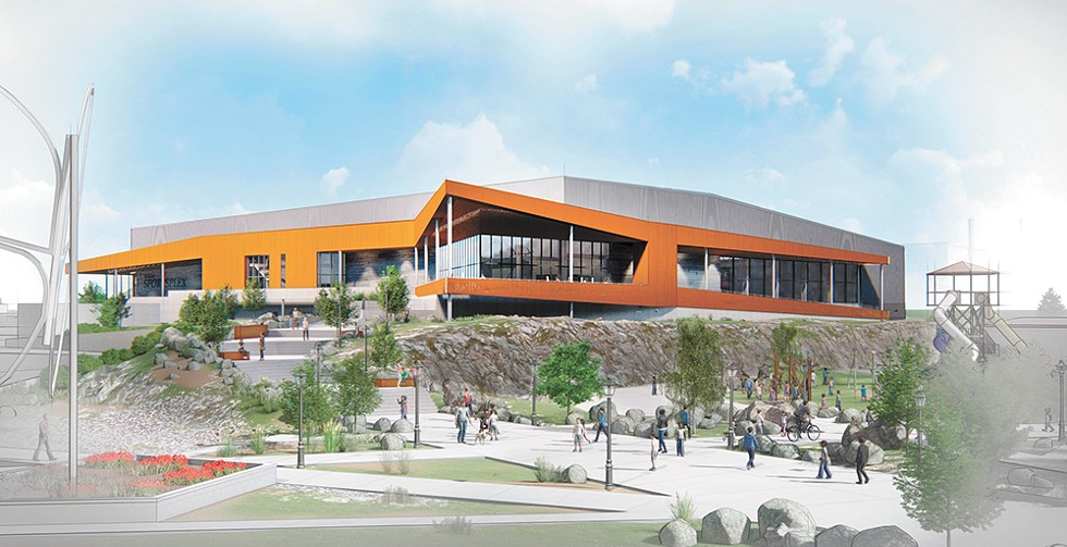A rendering of the proposed Spokane Sportsplex, on the north bank of the Spokane River. The current design has a few minor alterations. - COURTESY OF INTEGRUS ARCHITECTURE