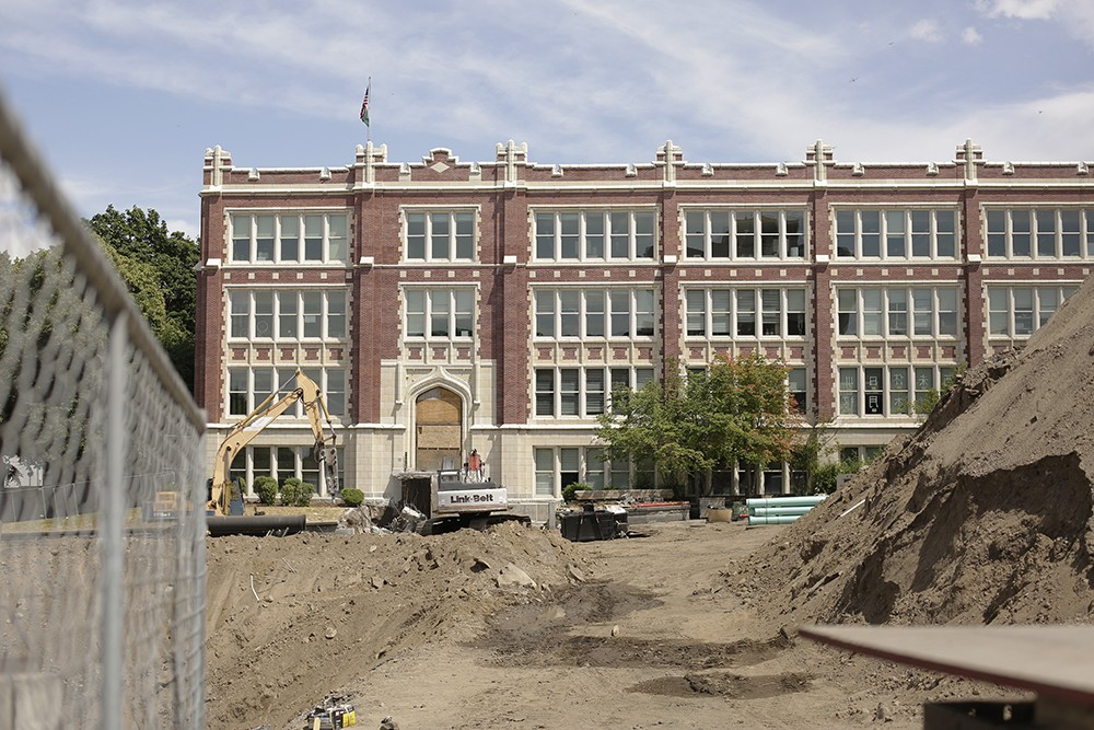 Construction of Lewis and Clark's new cafeteria is slated to be completed by the end of the 2020 school year. - YOUNG KWAK PHOTO