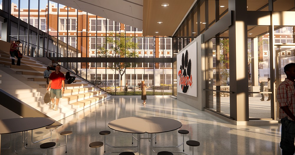 Rendering of the future Lewis and Clark cafeteria.