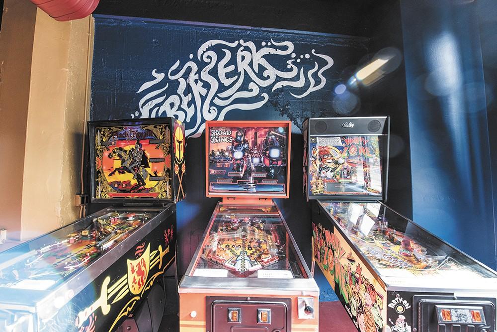 Pinball machines at Berserk Bar. - ERICK DOXEY PHOTO