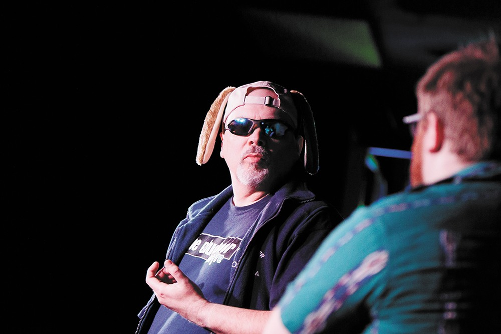 """Phil Lindsey, left, and Josh Scheel during the improv show """"Crime Show"""" at the Blue Door Theatre. - YOUNG KWAK PHOTO"""