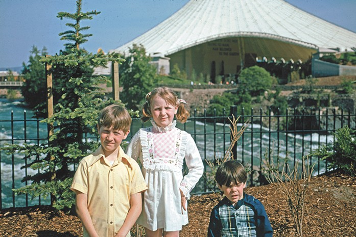 Here's what the Pavilion looked like when it was brand new, with three Spokane kids posing on Expo '74's opening day. Left to right: Ted, Piper and Jer McGregor.