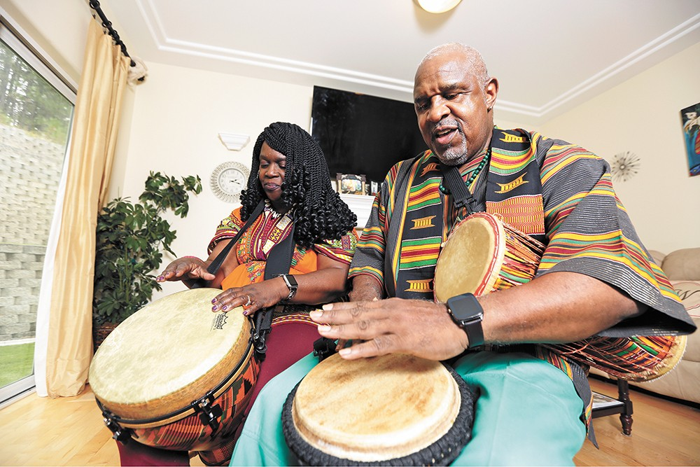 Roberta and James Wilburn practice the djembe as part of their Heritage Arts apprenticeship. - YOUNG KWAK PHOTO