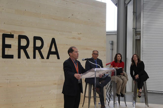 Katerra CEO Michael Marks addresses a crowd at the grand opening of the company's cross-laminated timber manufacturing facility in Spokane Valley on Friday, Sept. 20, 2019. - SAMANTHA WOHLFEIL PHOTO