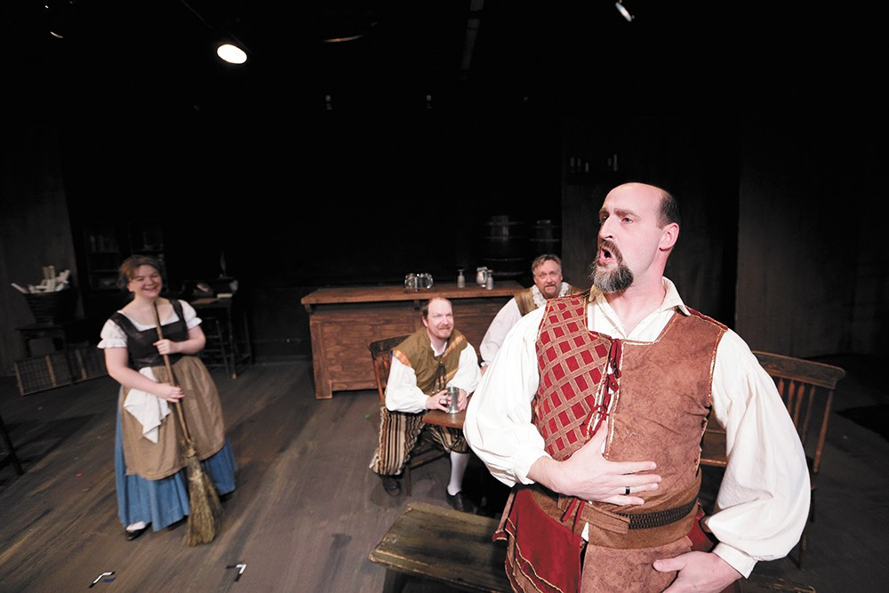 Damon Abdallah as Richard Burbage (front). - YOUNG KWAK PHOTO