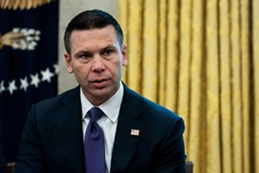 Acting Homeland Security Secretary Kevin McAleenan in the Oval Office at the White House in Washington, Sept. 4, 2019. The Department of Homeland Security is beginning to address white supremacist terrorism as a primary security threat, beating back criticism that the agency has spent a decade playing down the issue even as bigoted mass shooters from New Zealand to Texas took the lives of nearly 100 people in the last six months alone. - ERIN SCHAFF/THE NEW YORK TIMES