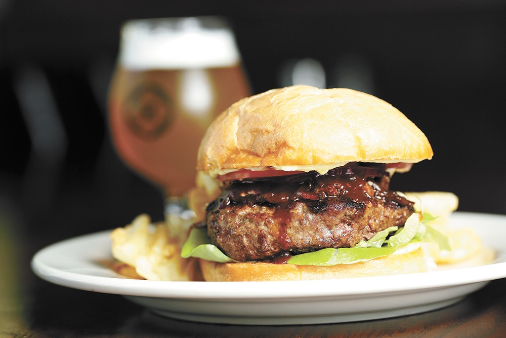 Downriver's signature DRG Chipotle BBQ burger is its top-selling menu item. - YOUNG KWAK PHOTO