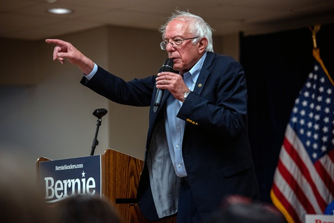 Sen. Bernie Sanders (I-Vt.), a candidate for the Democratic presidential nomination, campaigns in West Liberty, Iowa, on Sept. 24, 2019. Sanders is being treated for an artery blockage and canceling his events for the coming days, a campaign official said on Wednesday, Oct. 2, 2019. - HILARY SWIFT/THE NEW YORK TIMES
