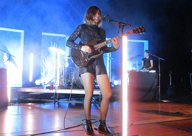 Carrie Brownstein now uses a light saber as a mic stand. Fierce! - DAN NAILEN PHOTO