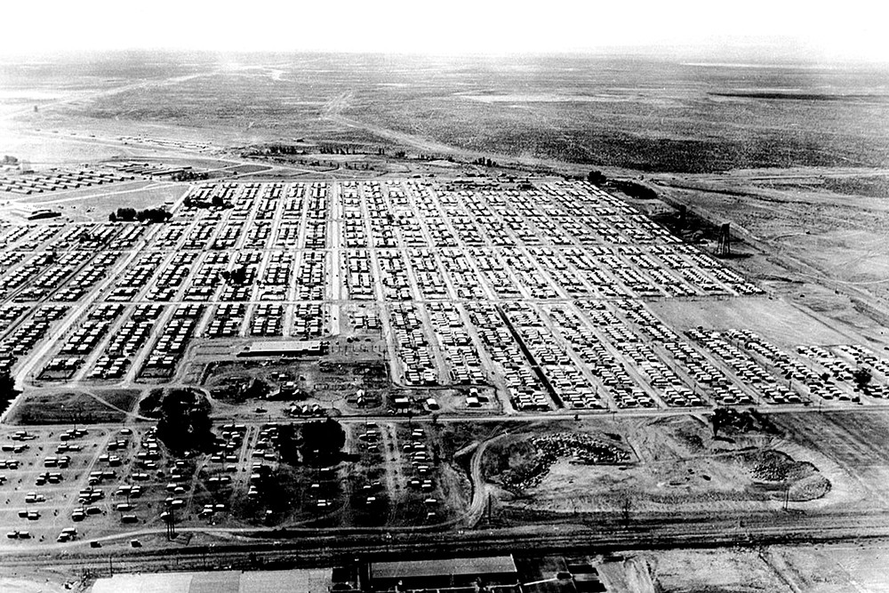 An undated aerial view of the trailer park at Hanford during construction. Many workers lived there with their families. - COURTESY OF U.S. DEPARTMENT OF ENERGY