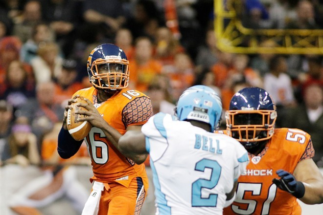They're baaaack. This shot is from a Spokane Shock game back in 2015, but the team will be back on the field at Spokane Arena in March 2020. - YOUNG KWAK PHOTO