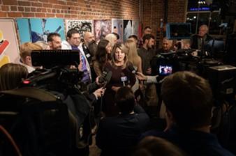 Mayor-elect Nadine Woodward on election night. - ERICK DOXEY PHOTO
