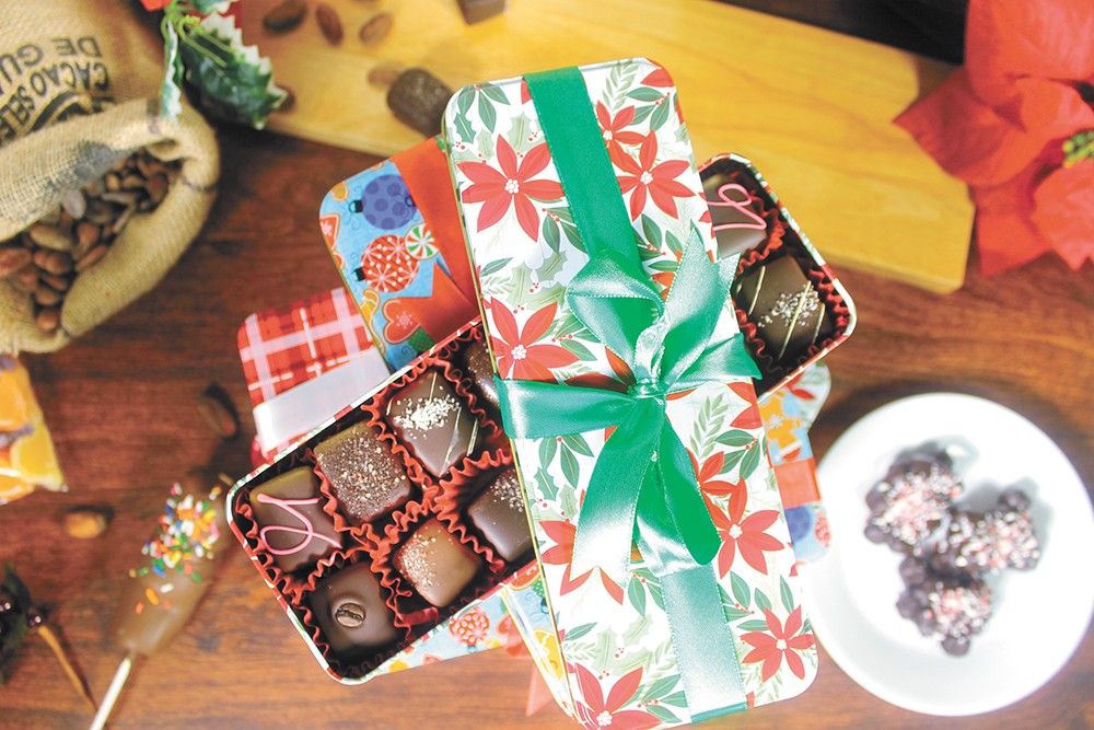Holiday treats from Sandpoint Chocolate Bear/Chocolate Apothecary.