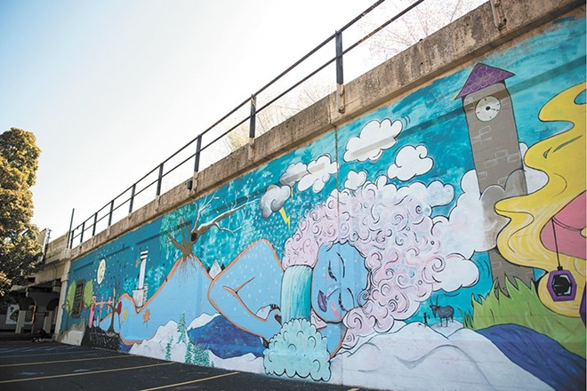Spokane Arts director Melissa Huggins says that some people seemed concerned that this mural would include a naked woman. Ultimately, it didn't. - DEREK HARRISON PHOTO