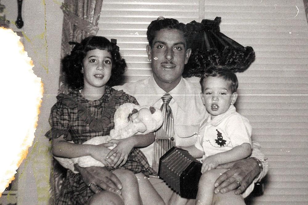 Joe Criscione, my grandpa, holding my dad and my aunt.