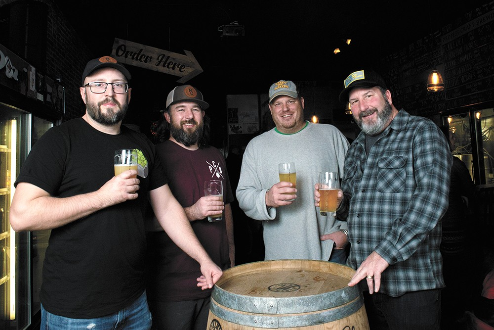 FROM LEFT: Adam Keys and TJ Wallin of Project Craft Brewing, and Jason Gerstner and Tim Stoltz of Golden Handle Project. - DEREK HARRISON PHOTO