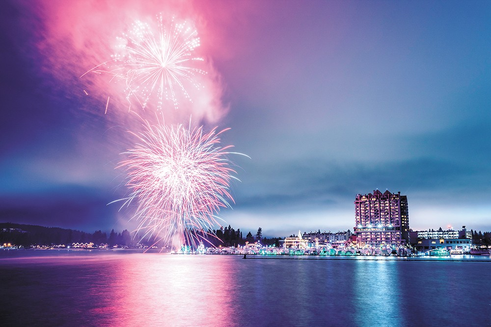 Coeur d'Alene Resort makes pretty with the big booms twice on New Year's Eve. |Coeur d'Alene Resort photo