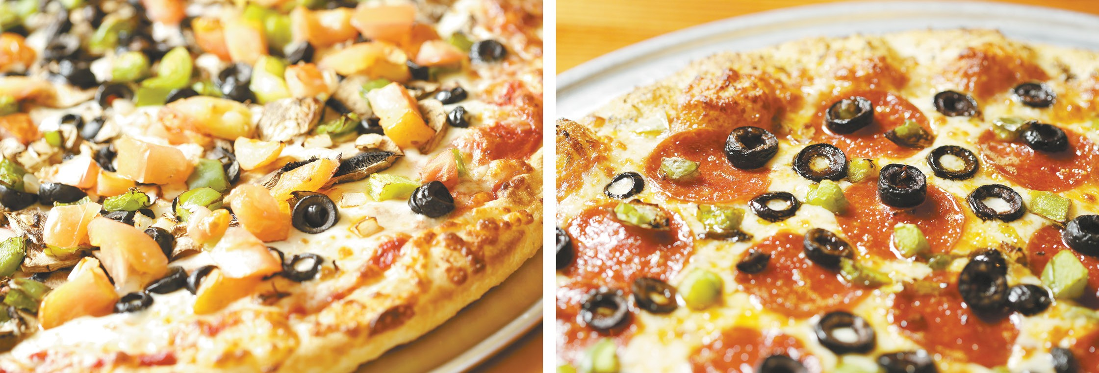 LEFT: Pizza Rita's Garden Delight pan pizza. RIGHT: Pizza Pipeline's pepperoni with green peppers and olives. - YOUNG KWAK PHOTOS