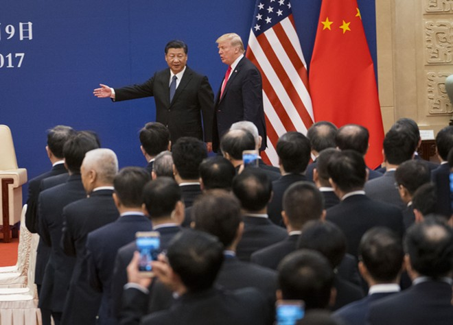 President Donald Trump and President Xi Jinping of China in Beijing, Nov. 9, 2017. - DOUG MILLS/THE NEW YORK TIMES