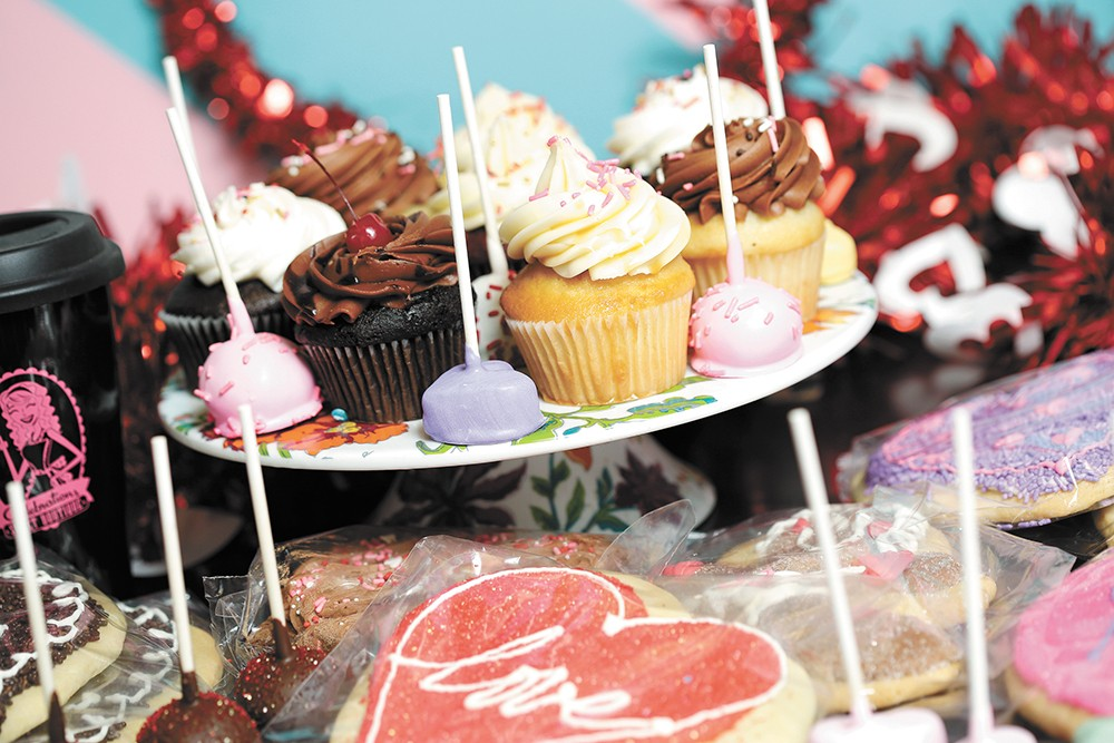 Valentine's cupcakes, sugar cookies and cake pops at Celebrations Bakery. - YOUNG KWAK PHOTO