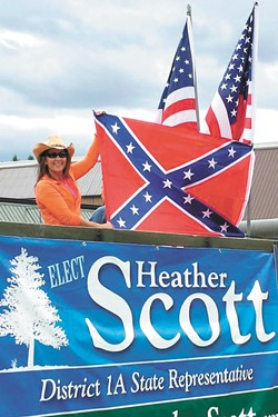 Idaho wasn't even a state during the Civil War, but Rep. Heather Scott still stoked controversy when she placed a Confederate flag on her Timber Days parade float in 2015.