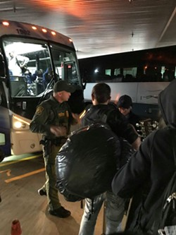 Border Patrol maintains they still have the right to question anyone embarking or departing from a bus. - DAVID BROOKBANK PHOTO