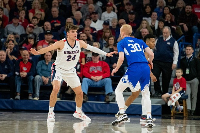With Corey Kispert at the four, the Zags are outscoring teams by 33 points per 100 possessions. - ERICK DOXEY PHOTO