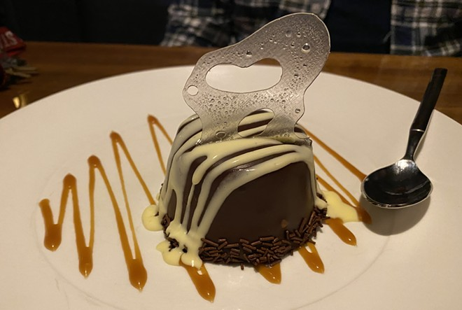 """The """"rolo dome"""" features chocolate mousse and salted caramel. - SAMANTHA WOHLFEIL"""