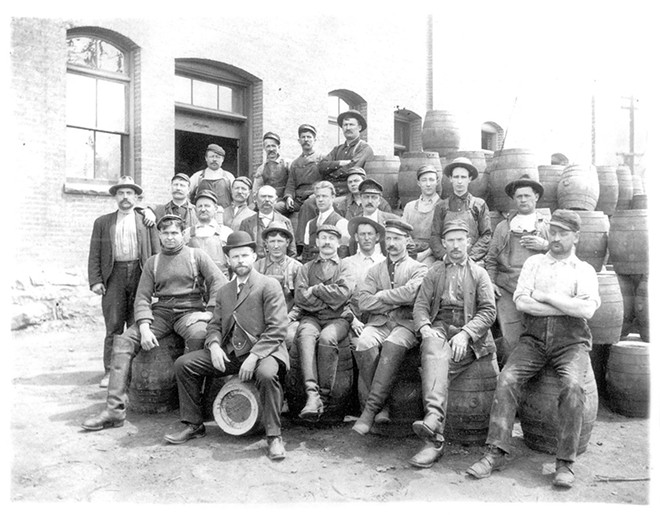 The Schade Brewery in Spokane c. 1909. After 1920, Bernhardt Schade (in front, on the sideways keg) would be out of a job.