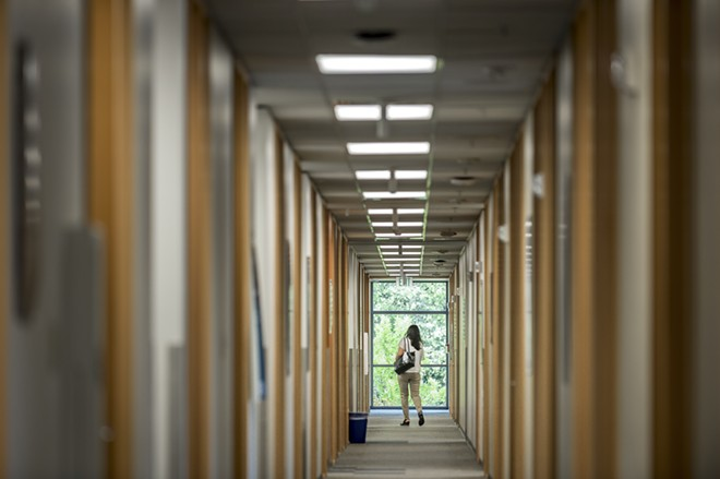 A hallway in a building on the Microsoft campus in Redmond, Wash., Sept. 7, 2017. - STUART ISETT/THE NEW YORK TIMES