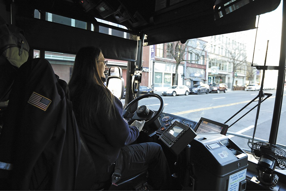 STA driver Kristie Parham on Route 4 in downtown Spokane. - YOUNG KWAK PHOTO