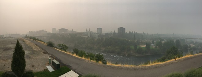 Spokane, as seen from the Inlander offices on Monday, Aug. 20, 2018. Wildfires and smoke are among the concerns the Sustainability Action Subcommittee wants to ask Spokane residents about on its survey open through March 20. - SAMANTHA WOHLFEIL PHOTO