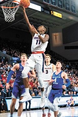 Sophomore Joel Ayayi blossomed this season and will help lead next year's loaded Zags roster. - ERICK DOXEY PHOTO