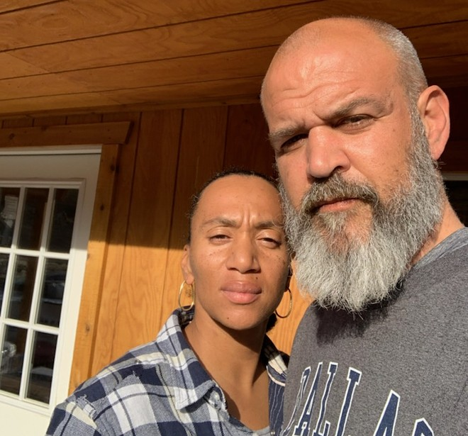 "Ian Pickett and his wife, Khalia. Pickett cut his beard for work down in California, but says ""I'm slowly trying to get my freedom back."" - PHOTO COURTESY OF IAN PICKETT"