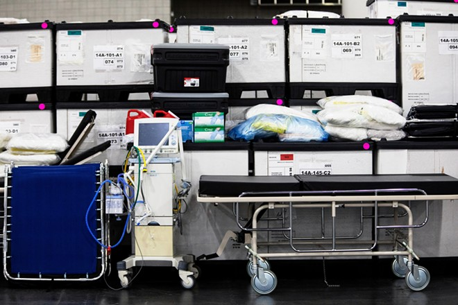 Medical equipment and supplies at the Jacob K. Javits Center in Manhattan, which the Army Corps of Engineers is retrofitting into a 1,000-bed emergency hospital, on Monday, March 23, 2020. Gov. Andrew Cuomo said Tuesday that the coronavirus infection rate in New York is now doubling every three days and could reach its apex in as soon as two weeks. - DEMETRIUS FREEMAN/THE NEW YORK TIMES
