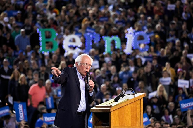 Sen. Bernie Sanders (I-Vt.) speaks during a presidential primary campaign rally at the Tacoma Dome in Tacoma, Wash., Feb. 17, 2020. - RUTH FREMSON/THE NEW YORK TIMES