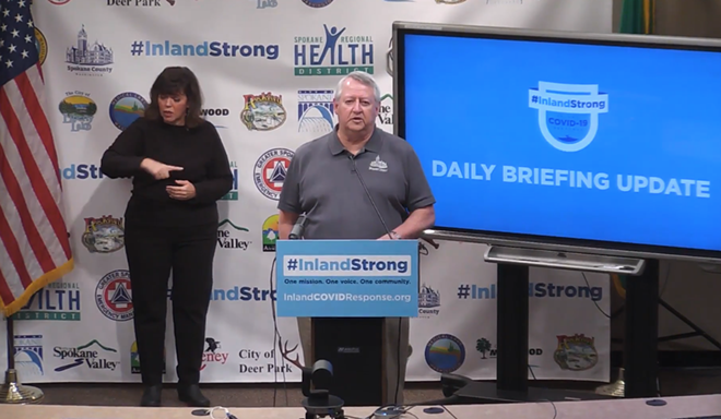 Spokane County Commissioner Al French speaks at a media briefing on Wednesday, April 22. - SCREENSHOT