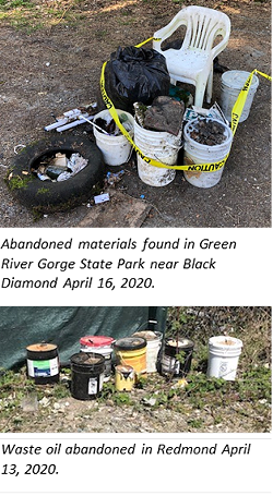 Photos show two illegal dumps of different hazardous materials, which were left at public places. Different state agencies say they've noted an uptick in people leaving their garbage on public property, and Ecology notes that hazardous materials in particular need to be safely and properly disposed of to avoid creating problems in nature. - COURTESY DEPARTMENT OF ECOLOGY